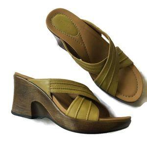 DANSKO Wedge Heel Leather Sandals Yellow shoes